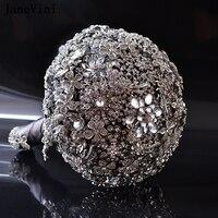 JaneVini Sparkly Кристалл полный алмазов свадебные букеты Роскошные брошь невесты в виде букета Серебряный Изукрашенный Свадебные аксессуары Рам