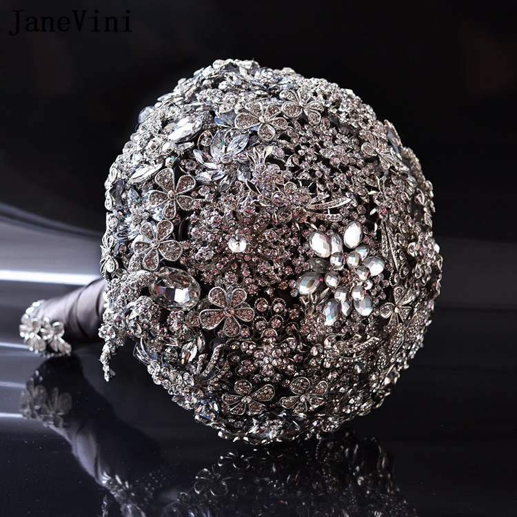 JaneVini Sparkly Crystal Full Diamond Wedding Bouquets Luxury Bridal Brooch Bouquet Silver Jeweled Wedding Accessories Ramo Boda
