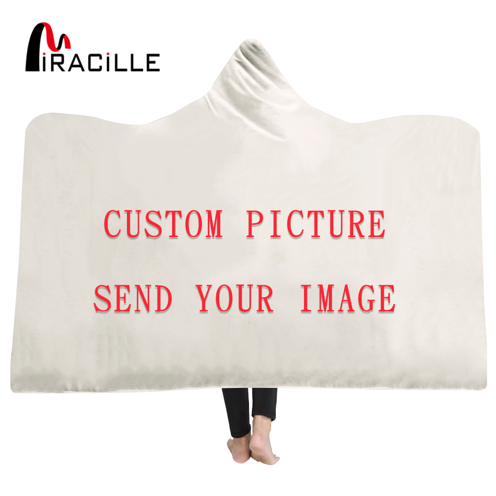 Miracille Customize Hooded Blanket 3D Printed Plush For Adults Kid Warm Wearable Fleece Personality Custom Throw Blankets