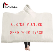 Miracille Customize Hooded Blanket 3D Printed Plush for Adults Kid Warm Wearable Fleece Personality Custom Throw Blankets magic hooded blanket for home travel picnic 3d printed wearable blanket for sofa portable warm throw blanket for adults childs
