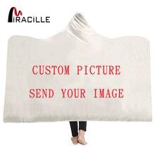 Miracille personnaliser couverture à capuche 3D imprimé en peluche pour adultes enfant chaud portable polaire personnalité personnalisé jeter des couvertures