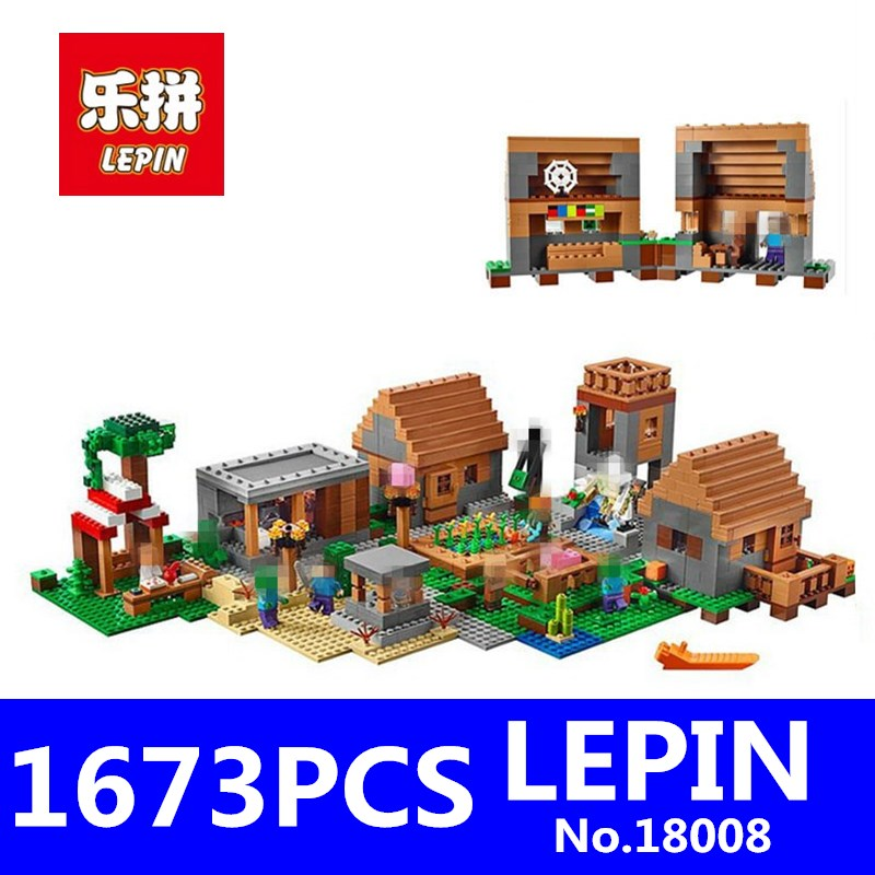 LEPIN 18008 1673pcs Minecrafted My World Series Village Model Building Blocks Bricks Model Compatible 21128 Toys