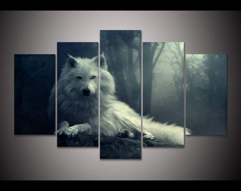 HD print 5pcs canvas art Print howling white wolves flower painting home  decor canvas painting living room decor picture /PT0757 - Online Get Cheap Wolf Howling Picture -Aliexpress.com Alibaba Group