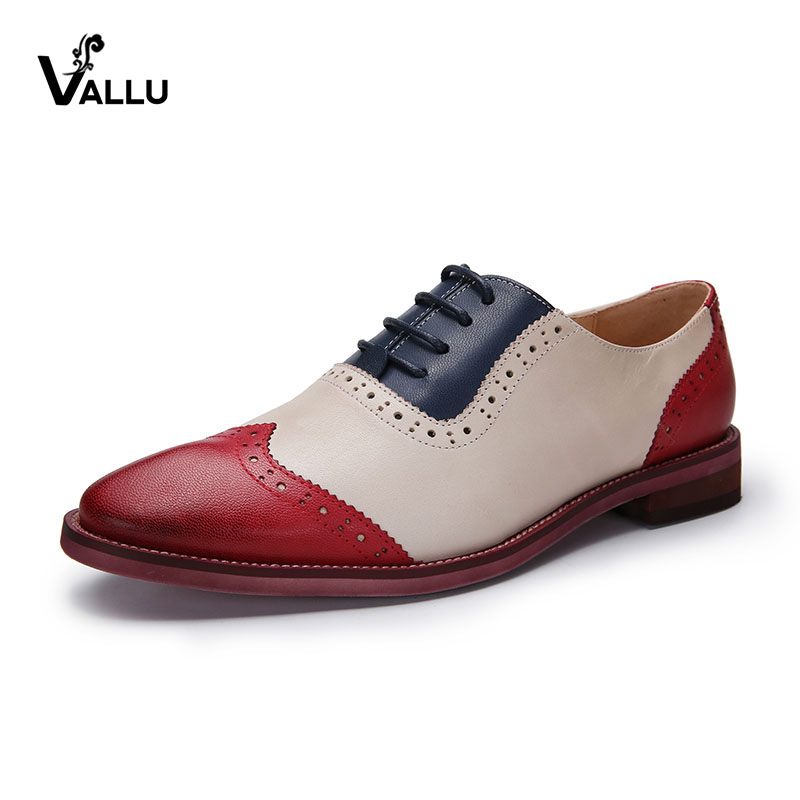 2018 VALLU Women Brogue Shoes Wingtip Perforated Lace Up Vintage Mixed Color Genuine Leather Oxfords Women Flats Plus Size in Women 39 s Flats from Shoes