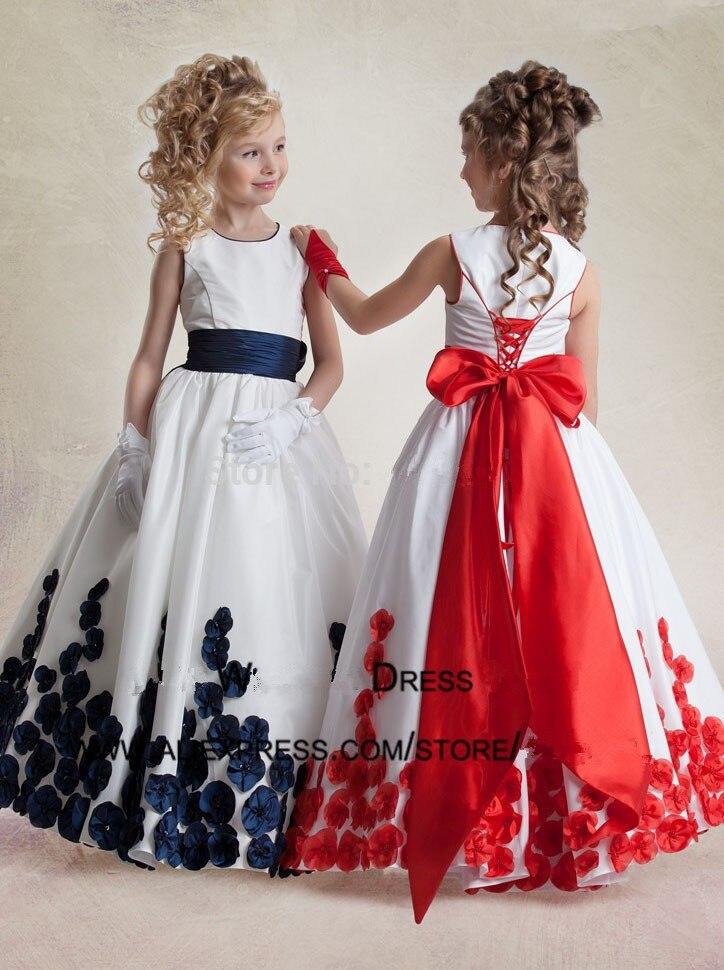 Popular navy blue flower girl dresses buy cheap navy blue for White wedding dress with blue trim
