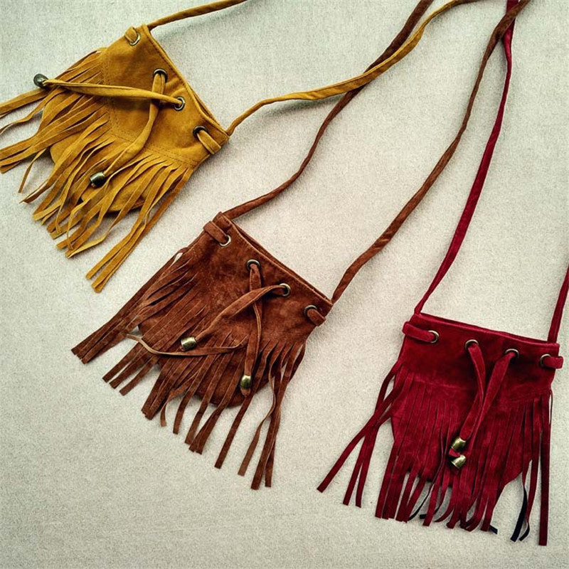 2017 Fashion Kids Fringe Bag Children Tassel Mini Bag Cute Small Bags For Girls Boys Suede Messenger Bags Brown Burgundy Yellow girls mini messenger bag cute plush cartoon kids baby small coin purses lovely baby children handbags kids shoulder bags bolsa