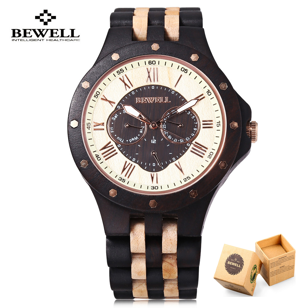 New Fashion Wooden Men Watch Luxury Brand Bewell Quartz Watches Casual Sport Business Wirstwatch Relogio Masculino Best Gift 2017 new top fashion time limited relogio masculino mans watches sale sport watch blacl waterproof case quartz man wristwatches