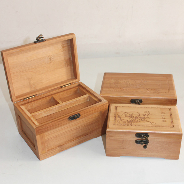 Etonnant Bamboo Hand Carving Multi Purpose Home Storage Box Wooden With Lid Golden  Lock Home Organizer