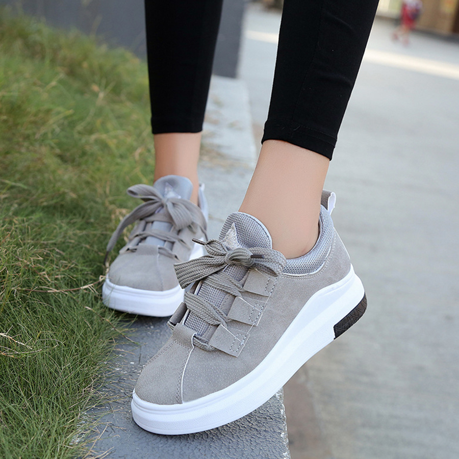 VTOTA Sneakers Women Autumn Platform Casual Shoes Spring Zapatos Mujer Plataforma Lace-Up 2018 Black Wedges Shoes Woman H127 vtota women genuine leather oxfords sneakers women white flat shoes spring platform shoes zapatos mujer lace up casual flats f93