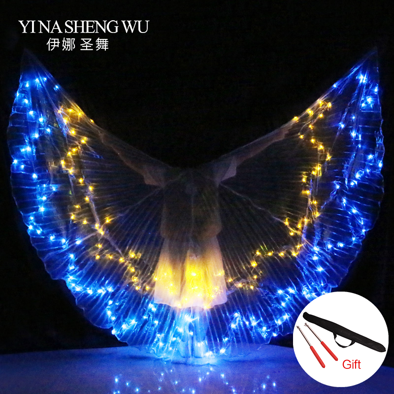 Adults Wings Colorful LED Dance Props ISIS Wings Belly Dance Professional Dance Accessory Belly Dance LED Wings With Sticks Bag