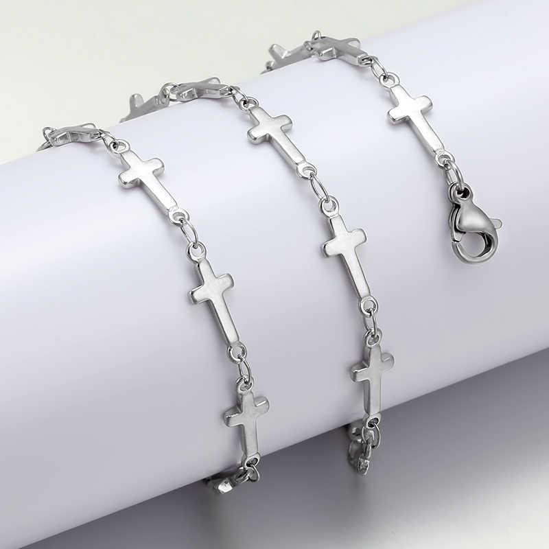 17/20/23/26/30 cali ze stali nierdzewnej stalowe długie łańcuch naszyjniki dla kobiet srebrny kolor krzyż serce naszyjnik moda damska biżuteria