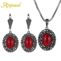 Ajojewel Black Rhinestones Vintage Earrings Necklace Set Antique Silver Plated Red Stone Jewelry Sets For Women