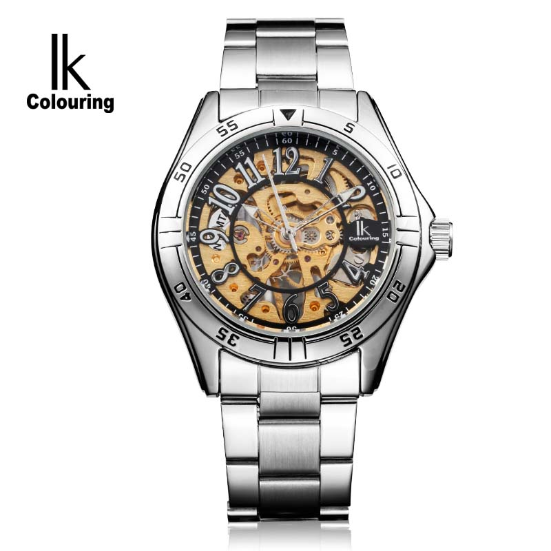 IK colouring Gold Skeleton Mechanical Hand Wind Watches Men Luxury Brand Business Dress Silver Steel Band Watch Clock relogio ik colouring gold skeleton mechanical hand wind watches men luxury brand business dress silver steel watch male clock relogio