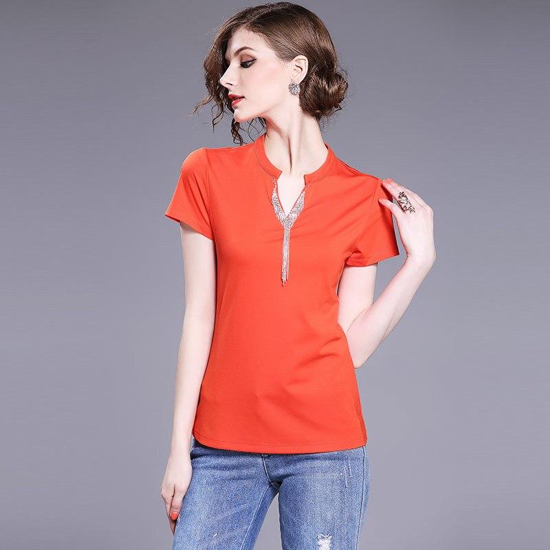 Perles Tops Taille T Orange shirts Plus Solide Black Courtes white Dames Noir Coton Casual Blanc La cou Glands Couleur Xxxl Manches Femmes V orange 4tqvIX