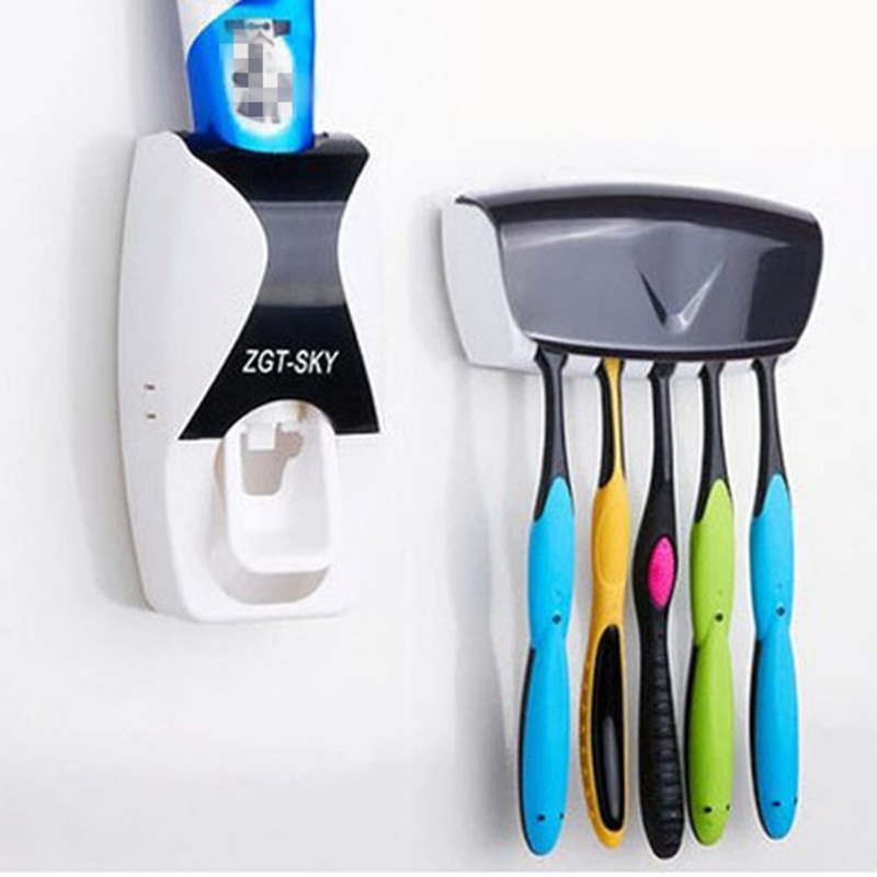 2 In 1 Bathroom Products Wall Mounted Automatic Toothpaste Dispenser Dustproof Toothbrush Holder Set Accessories Shelves From Home