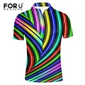 FORUDESIGNS Multicolor Striped Polo Shirt Brand Men Fashion Short-Sleeve Slim Fit Shirt 3D Argyle Patchwork Breathable Polos