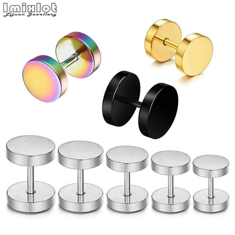 2Pcs Stainless Steel Fake Ear Plugs Tunnels Ear Piercing Screw Plugs and Tunnels Gauges Tapers Stretcher Earring 6/8/10/12/14mm image