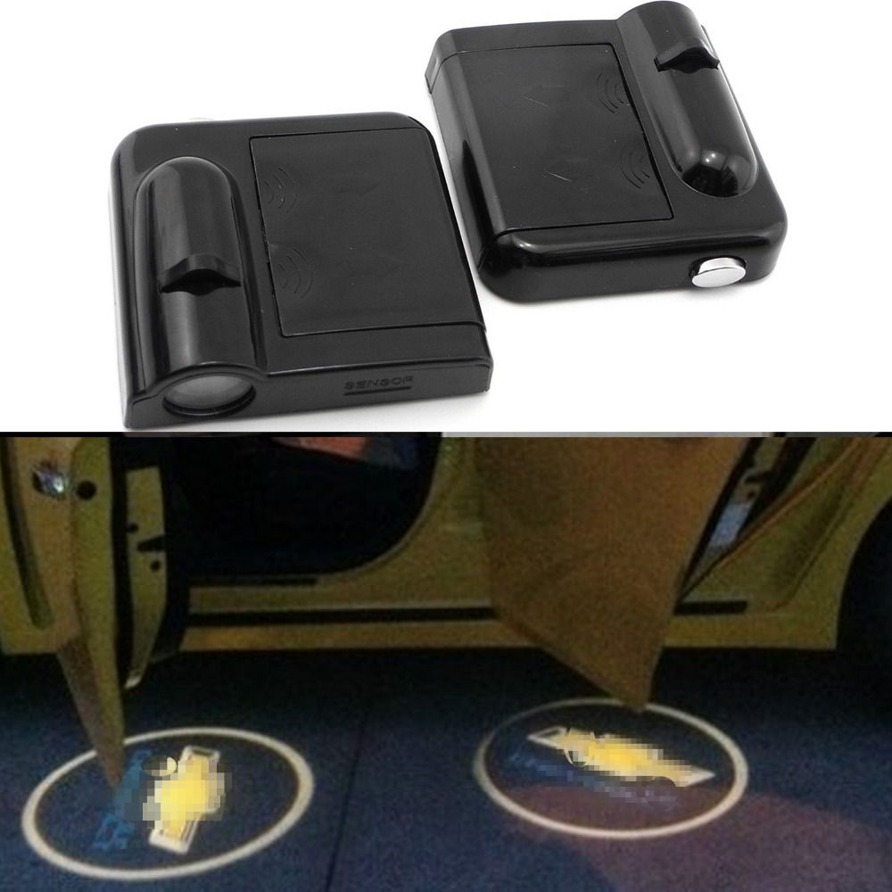 YOSHOW 2pcs/pair Wireless Car Door Welcome Light Logo No Drill Lights LED Laser Ghost Shadow Projector Lamp for all most cars for all cars courtesy lights &angel wings spotlight universal fit for car door welcome light projector light ghost shadow puddle