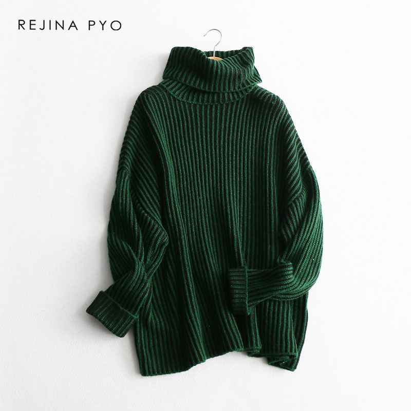 REJINAPYO Women High Quality Chic Contrast Color Striped Solid Knitted Sweater Pullovers Turtleneck 2019 Spring New Arrival