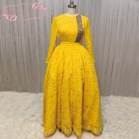 SuperKimJo Long Sleeve Lace Prom Dresses Formal Gowns Saudi Arabic Yellow Elegant Crystals Prom Gown Vestido
