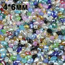 NEW Top quality 4*6mm 100pcs AAA Water droplet pear shaped Austrian crystals loose beads ball supply bracelet Jewelry Making DIY цена