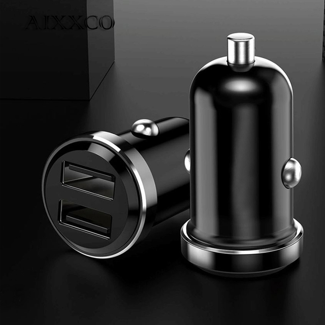 AIXXCO Mini USB Car Charger For Mobile Phone Tablet GPS 3.4A Fast Charger Car-Charger Dual USB Car Phone Charger Adapter in Car