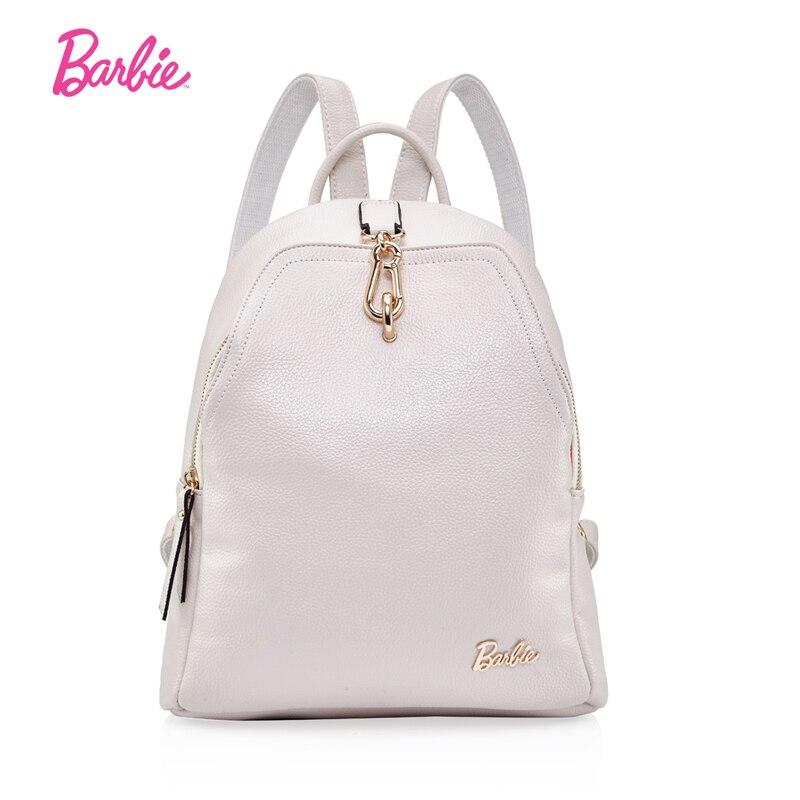 Barbie femmes sacs à dos filles blanc en cuir sac à dos doux étudiant sacs mode tendance bref sac pour dames grand volume