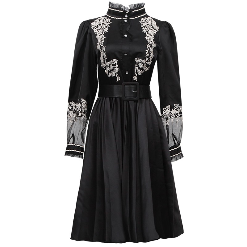 Turleneck Fiesta Las Slim Larga Black Vestido Cinturón Alta Manga Señoras Plisado Vintage Elegante Vestidos Bordado Princesa Cintura De qwC00E8