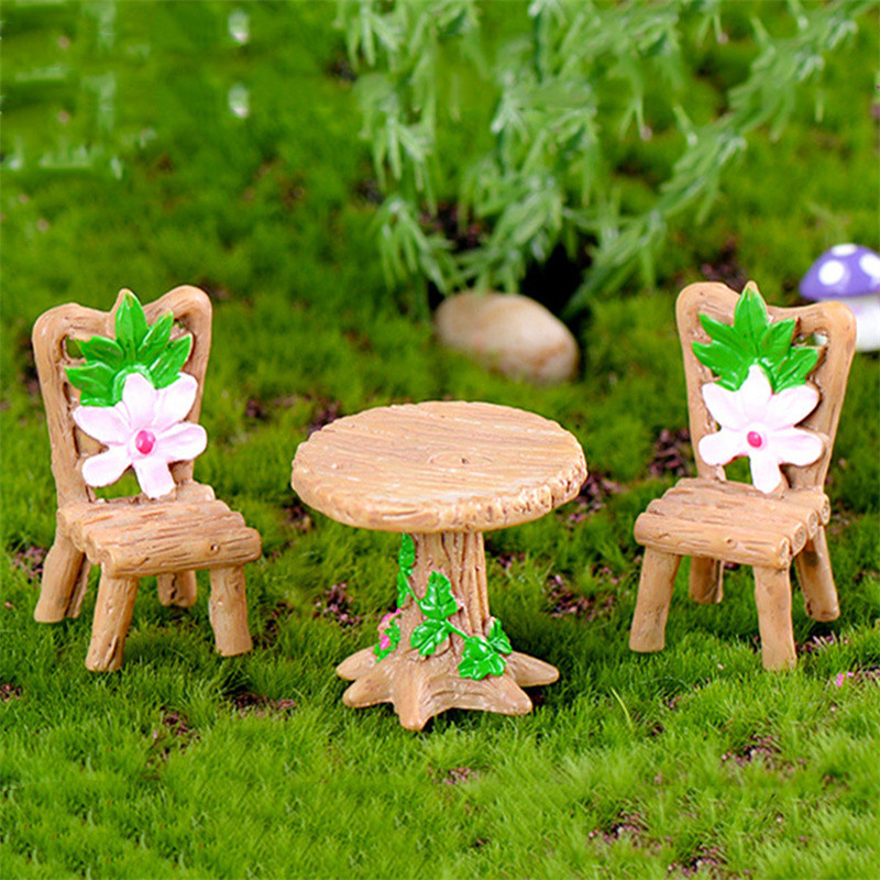 Artificial Micro Landscape Wood Chairs Tables Desk Stool Craft Miniatures For   Bonsai Pot Home Garden Decorations 1