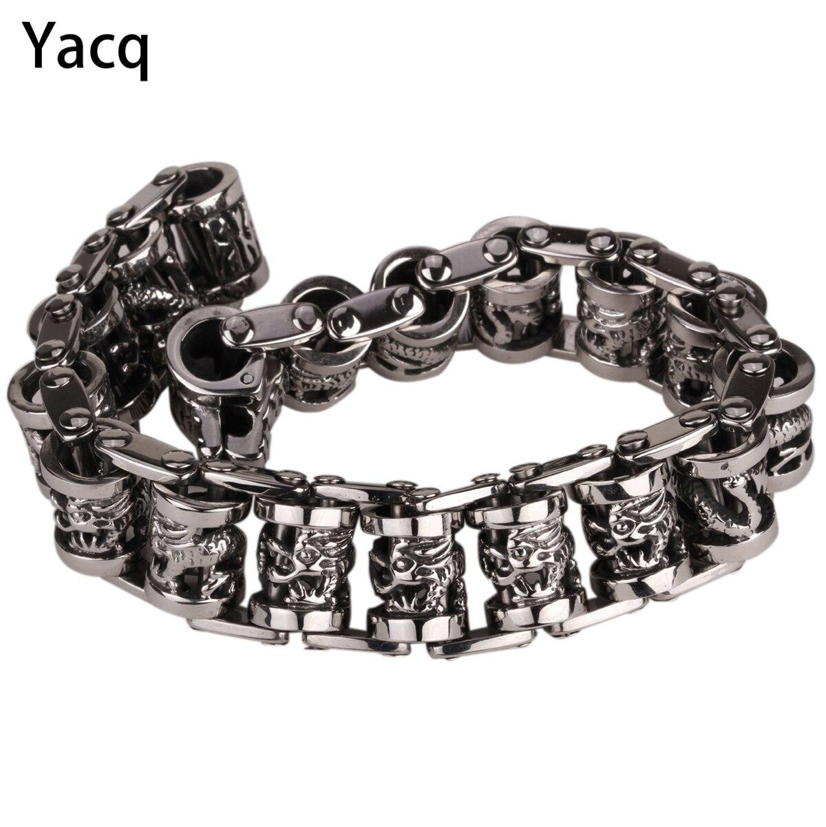 YACQ Men Dragon Stainless Steel Bracelet 316L Biker Heavy Punk Rock Jewelry Gift for Him ...