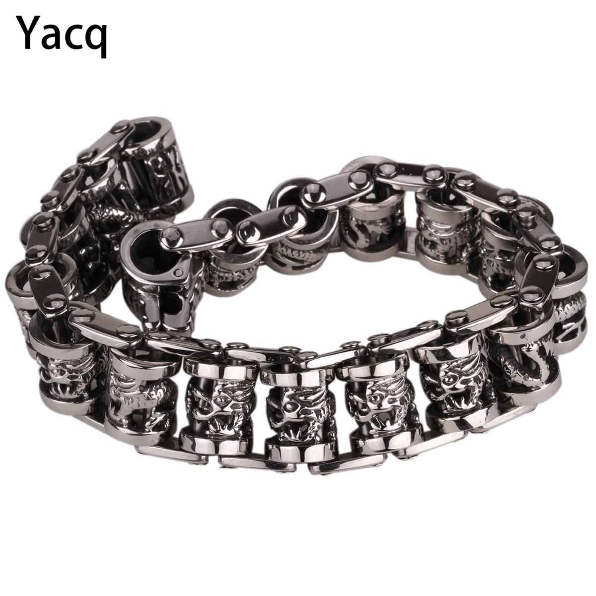 Yacq мужчины дракон браслет из нержавеющей стали 316L Байкер Heavy Punk Rock подарок ювелирных изделий для него папа Серебряный тон 8.5 GB312 дропшиппинг ...
