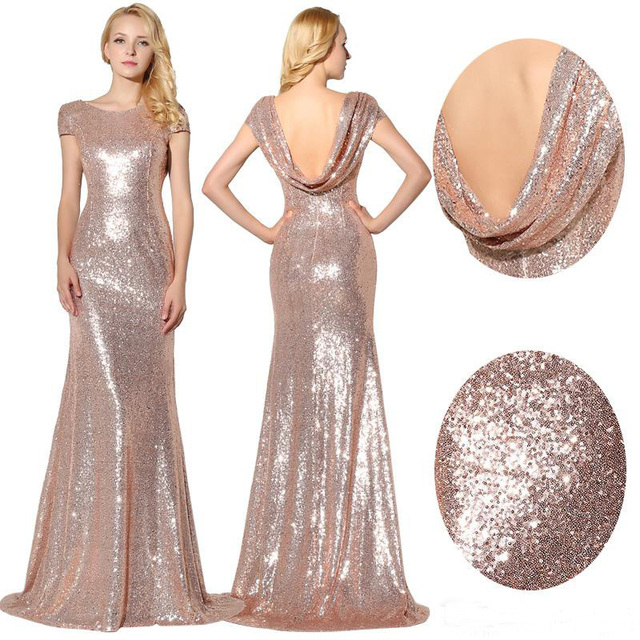 Sparkly Rose Gold Sequins Bridesmaid Dresses Wedding 2017 Jewel Short Sleeves Maid Of Honor Bling