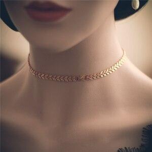 Image 4 - Złoty wypełniony Choker ręcznie robiony naszyjnik Vintage Charm prosty złoty łańcuszek Party prezent Collier Bijoux Femme biżuteria naszyjnik dla kobiet