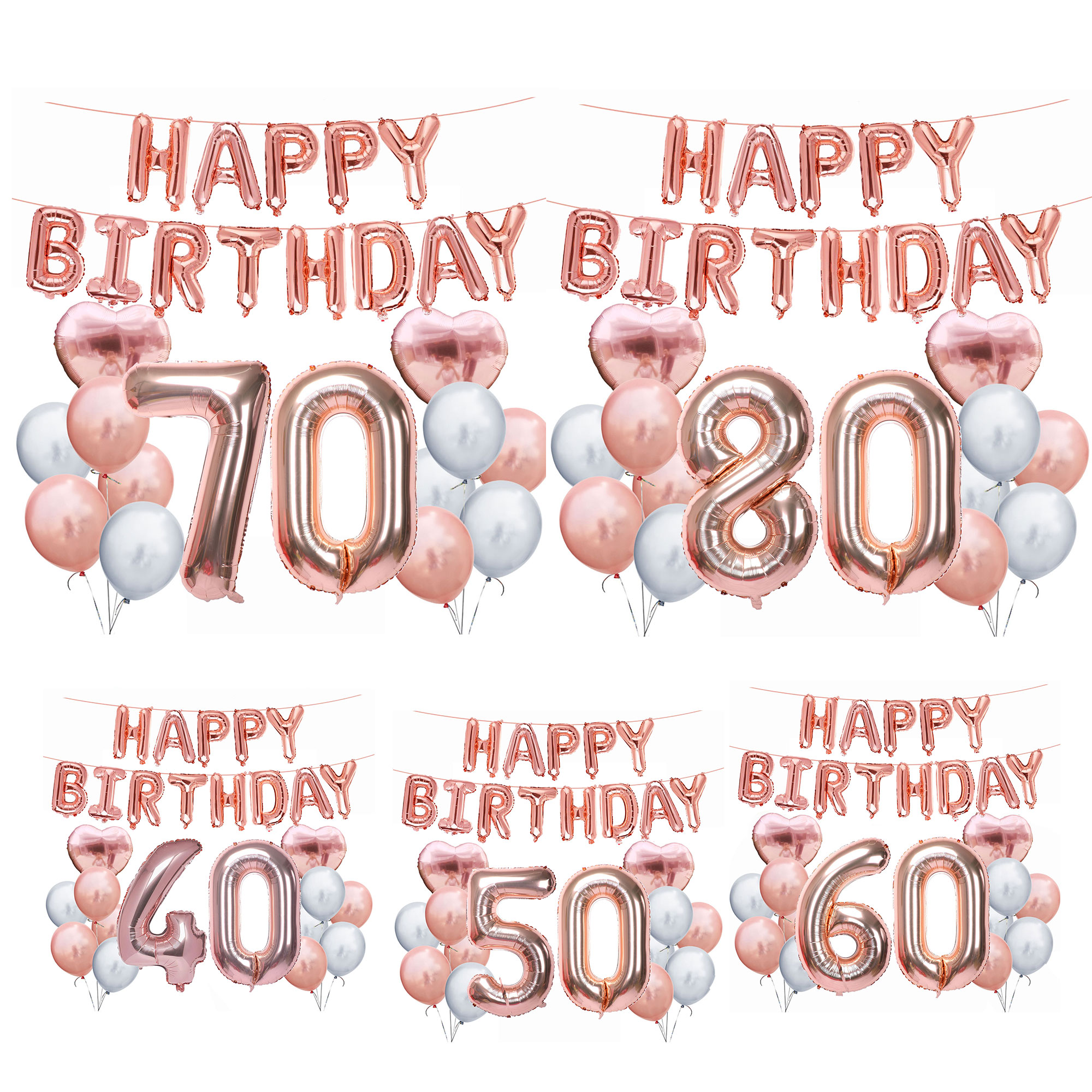 ZLJQ 30 40 <font><b>50</b></font> 60 70 80 Years Birthday Party Supplies Rose Gold Happy Birthday Foil Balloon Adult Birthday Party Decoration Balon image