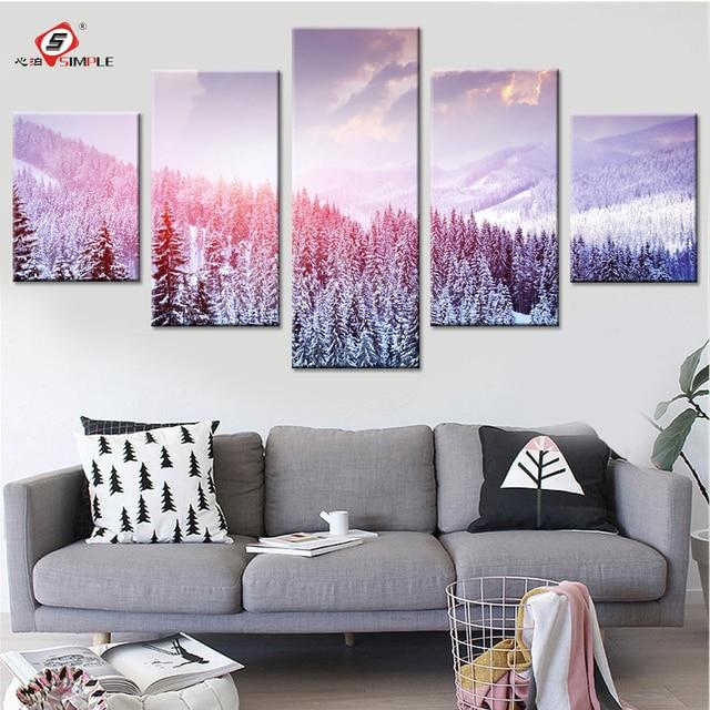 Superbe Paysage Du0027hiver Toile Peintures Moderne Photos Pour Salon Toile Affiches  Du0027art Mur