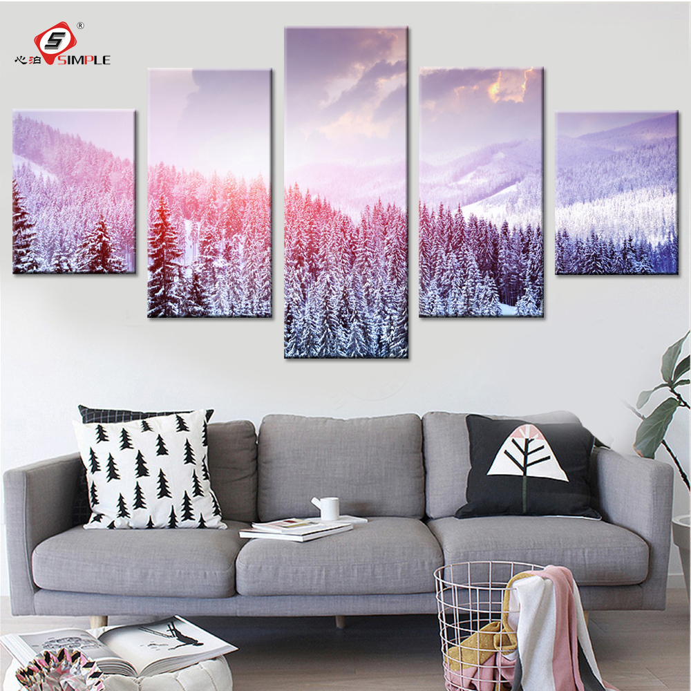 Winter landscape canvas paintings modern pictures for living room canvas prints wall art modular for Landscape paintings for living room