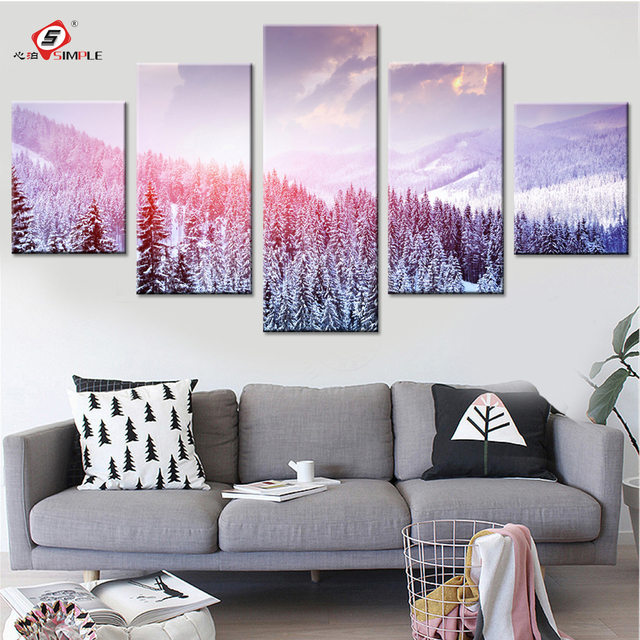 Winter Landscape Canvas Paintings Modern Pictures for Living Room ...