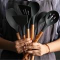 Распродажа  8 видов черных силиконовых деревянных шпателей  термостойкая суповая ложка  антипригарная специальная кухонная лопатка для кух...