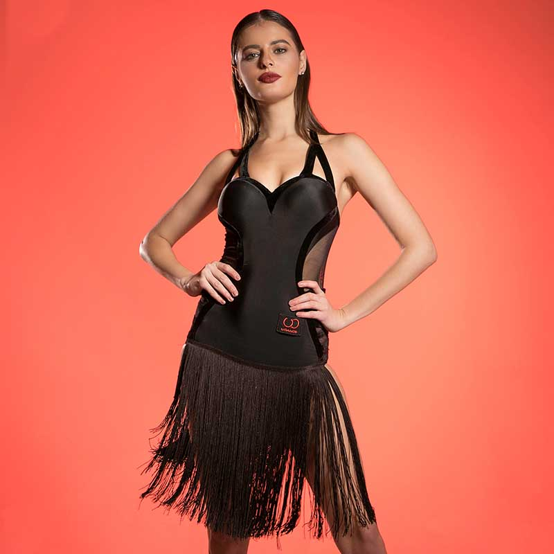 New Latin Dance Competition Dress Fringe Dress Halter