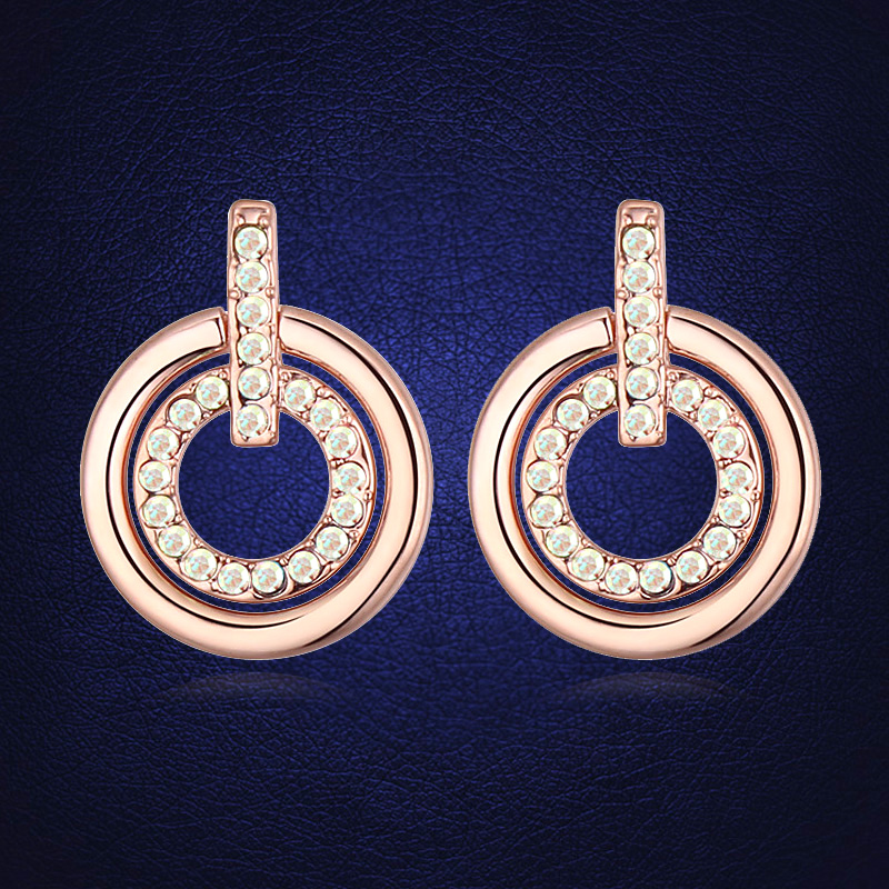 New Trendy Double Circle Stud Earring Jewellery Made With Genuine ...