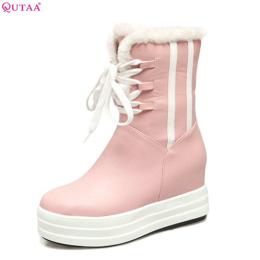 купить QUTAA 2018 Women Pu Leather Snow Boots Fahsion Keep Warm Lace Up Wedges Heel Round Toe Platform Women Mid Calf Boots Size 33-40 недорого