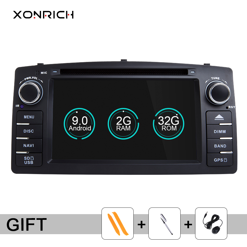 Xonrich 2 Din Android 9.0 Car DVD Player For Toyota Corolla E120 BYD F3 Multimedia Stereo AutoGPS Radio Navigation 2GB Wifi OBD2