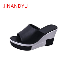 2019 Sloped Thick-Bottom Fish Toe Woman Slippers Elegant 9CM High Heel Sandals Wedge Platform Slippers Women Outdoor Comfy Shoes стоимость