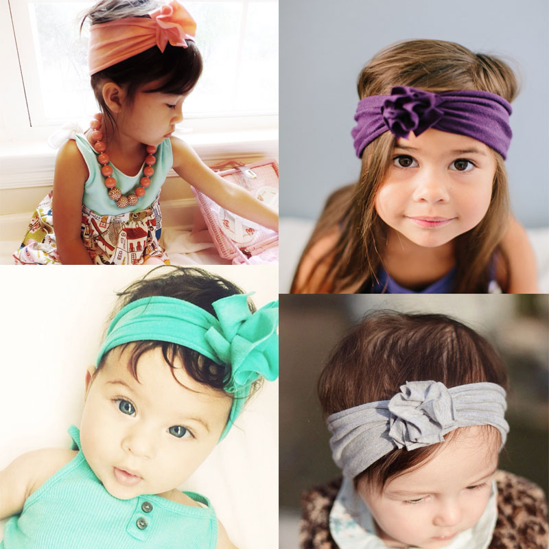 Headband Baby Girls Cotton Elastic Newborn Flower Hair Band Children Knot Headband Baby Turban Headband bandeau bebe 10Pcs/Lot 6pcs lot 2016 new baby girls elastic headband silky fabric flower head band newborn infant hair band kids baby hair accessories
