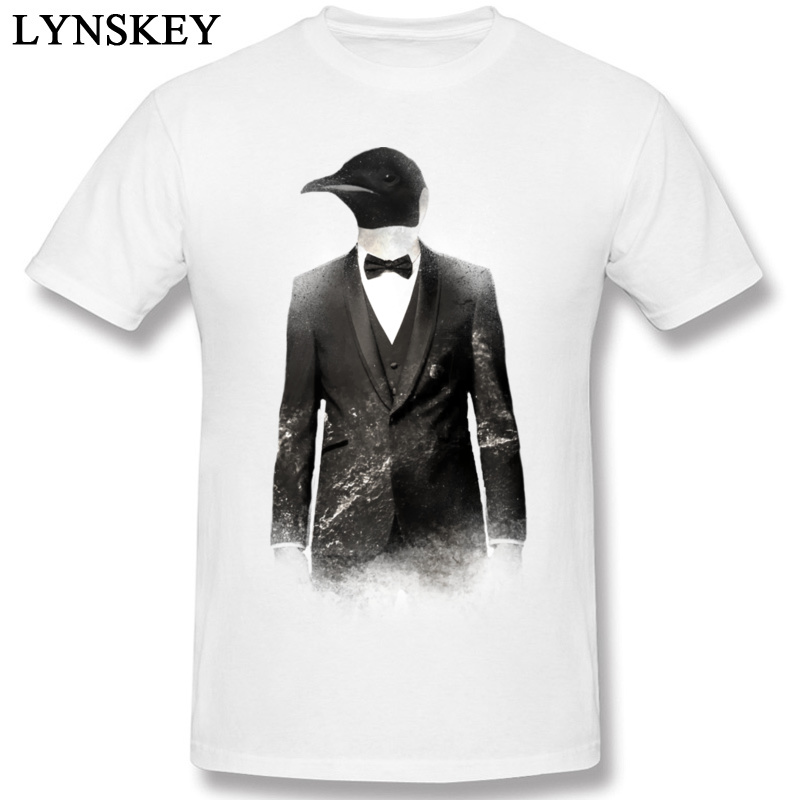 Street Fashion T Shirts Slim Fit Round Collar 100% Cotton Fabric Mens Blizzard Penguin Design Short Sleeve Clothing Shirt
