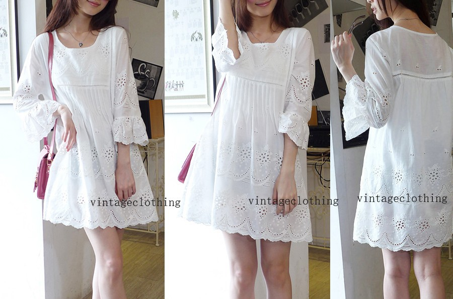 Vintage 70s Peasant Mexican Floral Embroidery+Hippie BOHO Mini Dress White  Cotton Top Womans Puff Slv Blouse Free Sz S M LUSD 17.86 piece. vintage show c4c7e90a038c