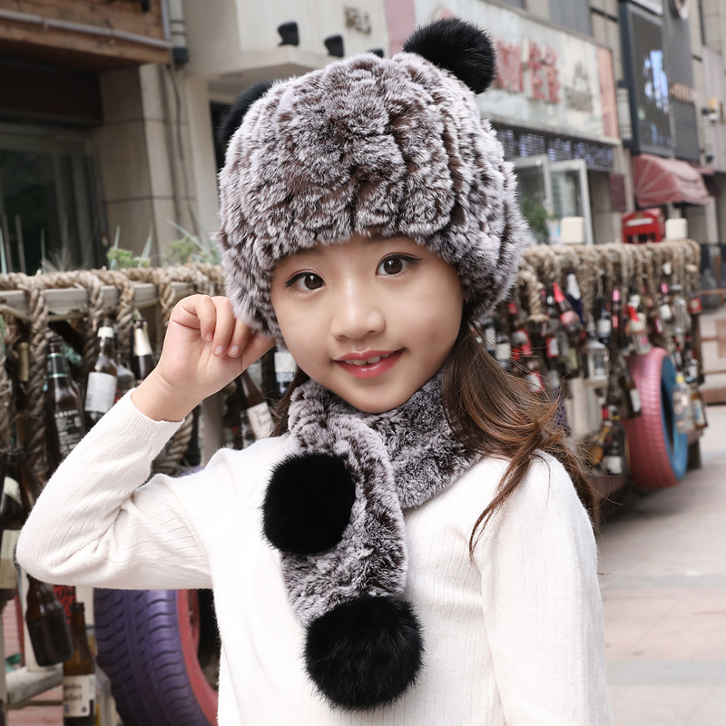 Sheernuo Child Rex Rabbit Fur Scarf Fur Hat Winter Girl Warm Add Thick Boy Cute Fur Fur Ear Cap Child