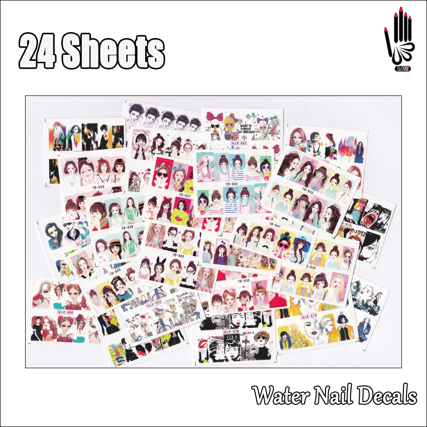 Nail 24Sheets/Lot Mixed 24 Designs Full Cover Colorful Cute Girl Nail Art Water Sticker Decal For Nail Art Decoration 24-14