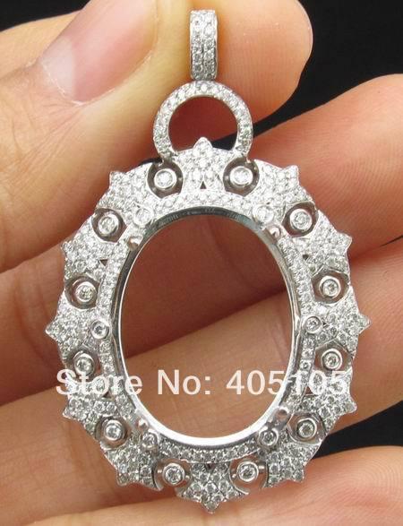 Hot oval 15x20mm 14ct white gold semi mount diamond pendant oval 15x20mm 14ct white gold semi mount diamond pendant settings mozeypictures Choice Image