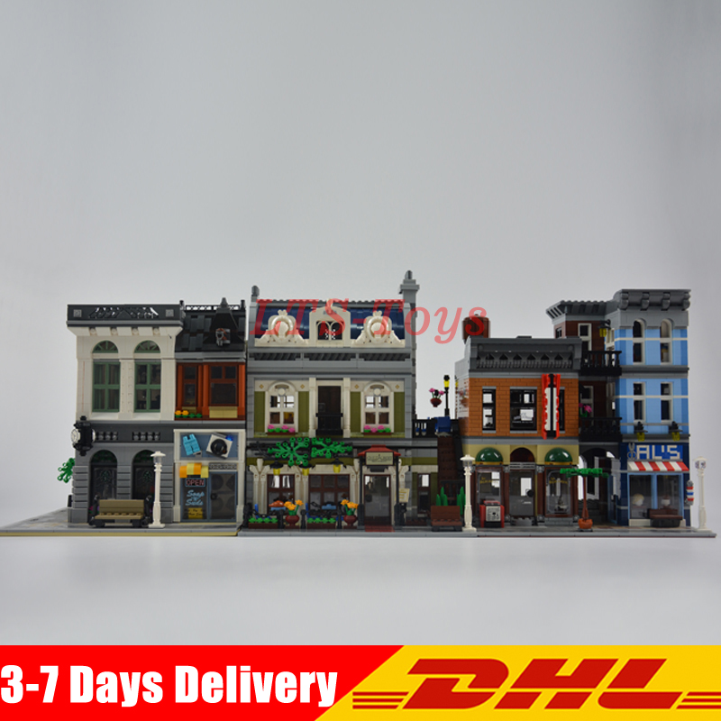 цена на Modular MOC City Town Street LEPIN 15001 Bank 15010 Parisian Restaurant 15011 Detective's Office Model Building Kit Blocks 10246